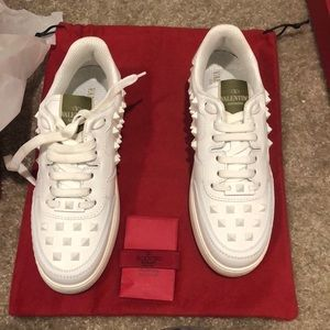 Valentino white studded sneakers